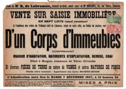 TIMBRE FISCAL SUR AFFICHE VENTE SUR SAISIE IMMOBILERE 1937 - Fiscale Zegels