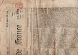 TIMBRE FISCAL A SEC SUR JOURNAL LA GAZETTE DE FRANCE 1860 - Fiscale Zegels