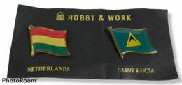 74701 052/ SPILLA PINS - 2 Bandiere - Olanda E Saint Lucia - Hobby & Work - Administrations