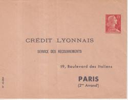 """FRANCE : ENTIER POSTAL . 25 F . TYPE MULLER . EP TSC . """" CREDIT LYONNAIS PARIS 2  """" . 1960 . - Sobres Tipos Y TSC (antes De 1995)"""