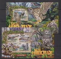 TG003 2016 TOGO TOGOLAISE FAUNA BIRDS OWLS LES HIBOUX KB+BL MNH - Owls