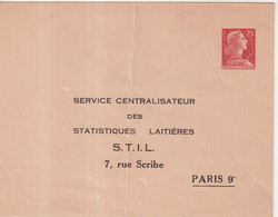 "FRANCE : ENTIER POSTAL . 25 F . TYPE MULLER . EP TSC . "" STATISTIQUE LAITIERES  "" . 1960 . - Sobres Tipos Y TSC (antes De 1995)"