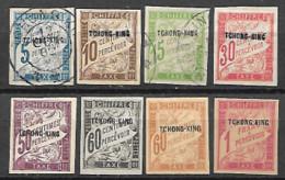 Tchong-King Timbres Taxe N°1 à 10 Sauf Le 5 Et Le 9, 3 Timbres Oblitérés Et 5 Neufs Avec Trace De Charnière, - Ungebraucht
