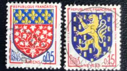 France - République Française - W1/14 - (°)used - 1962 - Michel 1406/07 - Stadswapens Amiens - Nevers - Usados