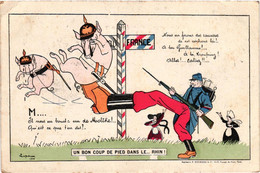 Illustrateur - Lupa - Militaria - Un Bon Coup De Pied Dans Le Rhin - 1918 - Saucisses Cochon Kronprinz - Patriotic