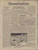Guerre 39 45 Journal Quand-même Bulletin Distribué Par Avion RAF N°2 Octobre 1940 Tract Propagande - Other