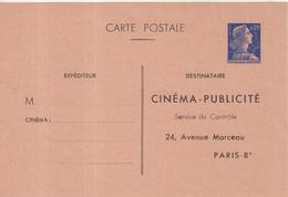 """FRANCE : ENTIER POSTAL . 0.20 . TYPE MULLER . CPP TSC . """" CINEMA PUBLICITE . PARIS 8  """" . 1964 . - Postales Tipos Y (antes De 1995)"""