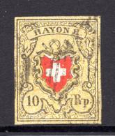 SCHWEIZ, 1850 Rayon II Gelb, Gestempelt - 1843-1852 Federal & Cantonal Stamps