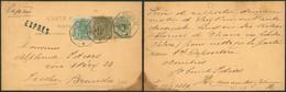 """EP Au Type 5ctm Vert + N°45 Et 47 En Expres Obl Télégraphique """"Auderghem"""" (1889, Inversion De La Date!) > Bruxelles - AK [1871-09]"""