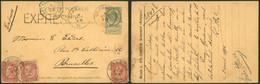 """EP Au Type 5ctm Vert + N°57 X3 SBD En Expres Obl S.C. """"Grammont"""" (1895) > Bruxelles / Maison L. Byl-Campen - AK [1871-09]"""