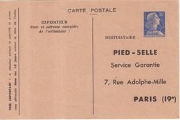 "FRANCE : ENTIER POSTAL . 20 F . TYPE MULLER . CPP TSC . "" PIED SELLE "" . SANS TALON . 1957 . - Standard- Und TSC-AK (vor 1995)"