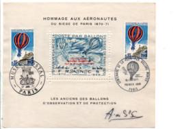 FEUILLET ERINNOPHILE HOMMAGE AUX AERONAUTES 1971 - Cachets Commémoratifs