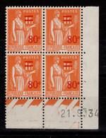 Coin Daté - YV 359 N** Paix Surchargé Du 21.9.34 - 1930-1939