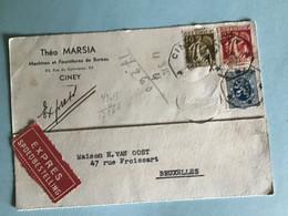 BELGIE EXPRES 1935 VANUIT CINEY NAAR BRUSSEL - Covers & Documents