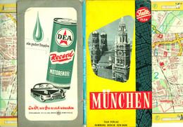 """München 1960 Deko Stadtplan Falk Plan 1:20.000 """" Falk Landkartenverlag Hamburg """" + Strassenverzeichnis Verkehrslinien - Topographical Maps"""