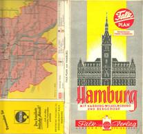 Hamburg 1955 Deko Stadtplan Falk Plan 1:20.000 + Wilhelmsburg Harburg Bergedorf Walddörfer Hafen Verkehrslinien - Topographical Maps