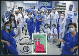 ANDORRA ANDORRE (2021) - Carte Maximum Card Homenatge Esforços COVID-19 - Health Workers, Masque, Mask, Virus, Hospital - Maximumkaarten