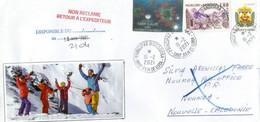Lettre Andorre Envoyée En Nouvelle-Caledonie,pendant épidémie Covid-19, Avec Vignette Locale, Return To Sender, 2 Photos - Brieven En Documenten