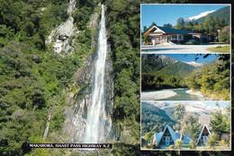 1 AK Neuseeland * Makaroa - Haast Pass Highway Und Der Thunder Creek Falls (96 M) Im Mount-Aspiring-Nationalpark * - Neuseeland
