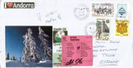Lettre Andorre Envoyée à Tallinn Estonie,pendant épidémie Covid-19, Avec Vignette Locale, Return To Sender, 2 Photos - Brieven En Documenten