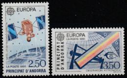 Année 1991 - N° 402 Et 403 - Europa :- L'Europe Et L'espace : Satellite De Télévision  Et Observatoire - 2 Valeurs - Ongebruikt