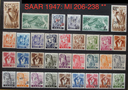 SAAR / Sarre 1947: 1.+2.Ausgabe Neusaar/ 1ère & 2ème émission Michel-No. 206-238 ** Postfrisch MNH (Katalog 16.00 Euro) - Neufs