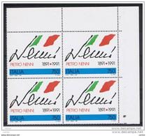 REPUBBLICA:  1991  PIETRO  NENNI  -  £. 750  POLICROMO  BL. 4  N. -  SASS. 1981 - Hojas Bloque