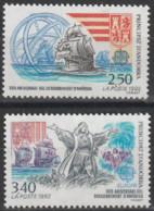 Année 1992 - N° 416 Et  417 - Découverte De L'Amérique Par Christophe Colomb : Armoiries, Caravelles - 2 Valeurs - Ongebruikt