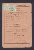 Recepissé Déclaration Avec Timbre Fiscal Impot Sur Velocipedes Lucien Banguet Paris 20è 31/07/1944 époque Petain Velo - Fiscale Zegels