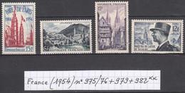 France (1954) Foire De Paris N°975 + Lourdes N°976 + Quimper N°979 + De Lattre N° 982 Neufs ** - Neufs