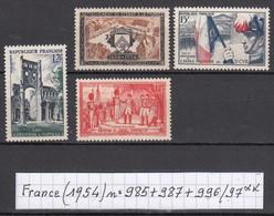 France (1954) Abbaye Jumièges N°985 + Rattachement Stenay N°987+ Saint-Cyr N°996 + Légion D'honneur N°997 Neufs ** - Neufs