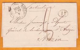 1836 - LAC  Particulière De Boulogne Sur Mer, Pas De Calais Vers Anzin, Via Valenciennes, Nord -  T 8 -  Décime Rural - 1801-1848: Vorläufer XIX