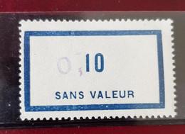 Fictif 10 Francs Bleu Surchargé 0.10 Sans Charnière Cours D'instruction - Corsi Di Istruzione