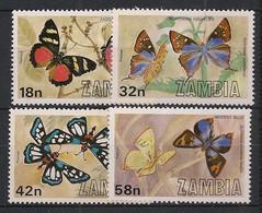 Zambia - 1980 - N° Yv. 217 à 220 - Papillons / Butterflies - Neuf Luxe ** / MNH / Postfrisch - Schmetterlinge