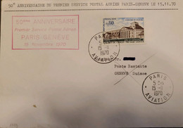 J) 1970 FRANCE, FIRST INAUGURAL FLIGHT, 50TH ANNIVERSARY OF THE FIRST AIR MAIL SERVICE PARIS GENEVA ON NOVEMBER 15, 1970 - Non Classificati