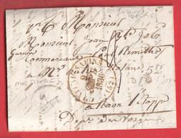CURSIVE 52 DELME + CAD TYPE 13 EN ROUGE DE CHATEAU SALINS 1836 NON SIGNALE EN ROUGE MEURTHE ET MOSELLE RAON VOSGES - 1801-1848: Voorlopers XIX