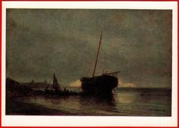 34983 Bogolyubov Boat Fishermen Fishing Boat Boat Fishing Seascape 1978 USSR Soviet Art Clean Card - Schilderijen