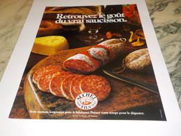 ANCIENNE PUBLICITE  VRAI SAUCISSON SUCHEL FILS  1985 - Posters