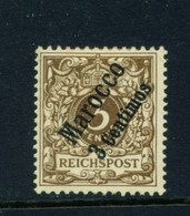 GERMAN PO'S IN MOROCCO  - 1899 Reichspost Definitive 3c On 3pf Hinged Mint - Oficina: Marruecos