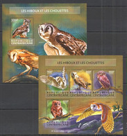 CA203 2015 CENTRAL AFRICA CENTRAFRICAINE FAUNA BIRDS OWLS LES HIBOUX CHOUETTES KB+BL MNH - Owls