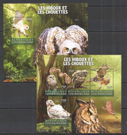 CA205 2015 CENTRAL AFRICA CENTRAFRICAINE FAUNA BIRDS OWLS LES HIBOUX CHOUETTES KB+BL MNH - Owls