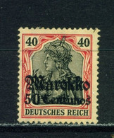 GERMAN PO'S IN MOROCCO  - 1911-18 Deutches Reich Definitive 50c On 40pf Hinged Mint - Deutsche Post In Marokko