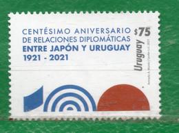 1749 URUGUAY 2021- 100 A. Relaciones Con Japón TT: Aniversarios -CUIDATE !!!!!   1 Sello - Uruguay