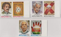 AITUTAKI 1980 25th Death Anniversary Of Albert Einstein IMPERF Plate Proofs Set Of 6 In Pairs - Aitutaki