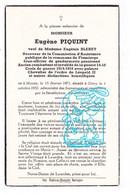 DP Receveur Comm D' Assistance Flamierge - Gendarme Eugène Piquint ° Mazée Viroinval 1871 † Givry Bertogne 1952 X Bleret - Images Religieuses