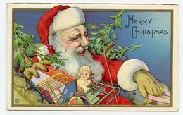 Père Noël .Santa Claus. Jouets.toys.carte Gaufrée En Relief. Embossed. - Santa Claus