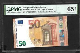 "Greece  ""Y"" 50  EURO  DRAGHI Signature!! GEM UNC ""Y"" Printer  Y003H5 PMG 65 Exceptional Paper Quality  Rare Bank Note!! - 50 Euro"