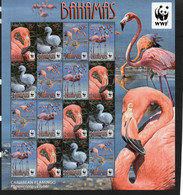WWF - BAHAMAS  - WW / FLAMINGOES SET OF 4 IN SHEETLET OF 16  MINT NEVER HINGED  SG CAT £39 - Nuevos