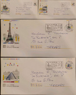J) 1997 FRANCE, CAILLEBOTTE MUNICIPAL PARK, TOWER, WITH SLOGAN CANCELLATION, AIRMAIL, CIRCULATED COVER, SET OF 4, FROM F - Non Classificati
