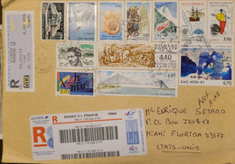 J) 2013 FRANCE, DOVE, CHURCH, LANDSCAPE, MULTIPLE STAMPS, AIRMAIL, CIRCULATED COVER, FROM FRANCE TO MIAMI - Non Classificati